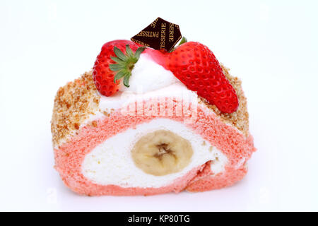 strawberry roll cake - Stock Photo