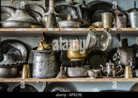 Antique Copper Pots And Vases For Sale In An Antique Shop At Harput