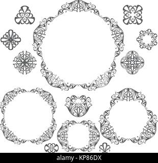 Decorative vintage frames and borders set, design elements - Stock Photo