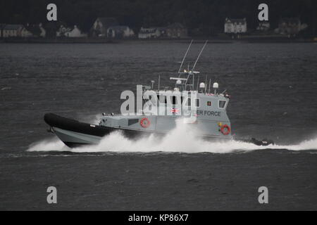 HMC Active, a 20 metre coastal patrol vessel operated by the UK Border Force, passing Gourock on the Firth of Clyde. - Stock Photo