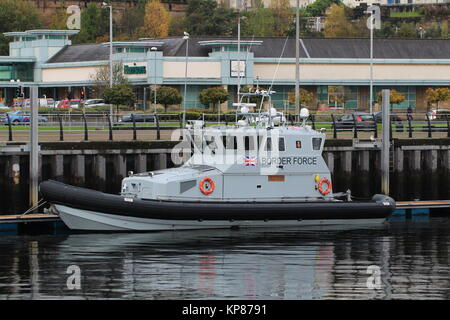 HMC Active, a 20 metre coastal patrol vessel operated by the UK Border Force, berthed in East India Harbour in Greenock - Stock Photo