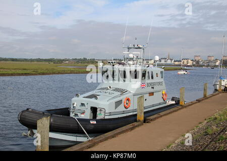 HMC Active, a 20 metre coastal patrol vessel operated by the UK Border Force, berthed at Irvine Harbour in Ayrshire. - Stock Photo