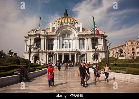 View to the Palacio de Bellas Artes-Fine Arts Museum in the city center, Mexico City, Mexico, Central America. - Stock Photo