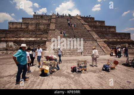 Tourists climbing up and down the Pyramid of the Moon- Piramide de la Luna in Teotihuacan Archaeological Site, Teotihuacan, - Stock Photo