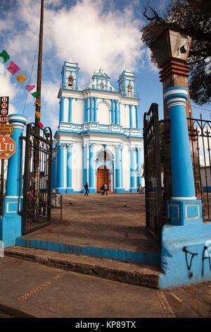 View to the Church of Santa Lucia in the city center, San Cristobal de las Casas, Chiapas State, Mexico, Central - Stock Photo