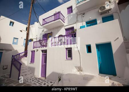 Whitewashed houses with colorful doors, windows and railings in town center, Mykonos, Cyclades Islands, Greek Islands, - Stock Photo