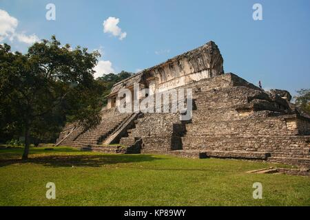 Visitor at the back of the Palace-El Palacio in Palenque Archaeological Site, Palenque, Chiapas State, Mexico, Central - Stock Photo