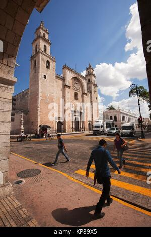 View to the Catedral de San Ildefonso. S. XVI.-Cathedral of San Ildefonso, Merida, Yucatan Province, Mexico, Central - Stock Photo