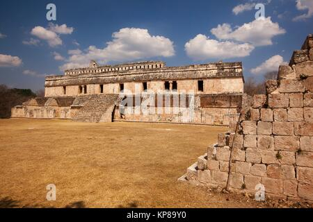 View to the Palace-El Palacio in Maya Archaeological Site Kabah in the Puuc Route, Yucatan State, Mexico , Central - Stock Photo