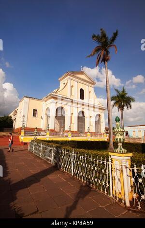 View to the Iglesia de Santisima Trinidad- Holy Trinity Church at the Main Square-Plaza Mayor, Trinidad, Sancti - Stock Photo
