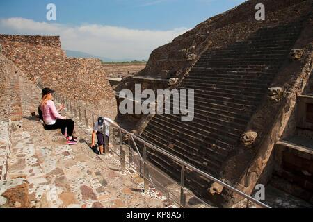 Tourists at the Temple of the Feathered Serpent-La Ciudadela in Teotihuacan Ruins, Teotihuacan Archaeological Site, - Stock Photo