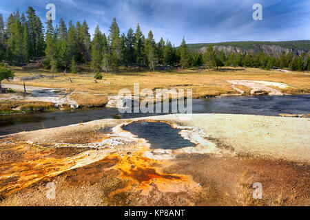 Firehole River, Yellowstone National Park, Wyoming, USA. The Firehole River flows through several significant geyser - Stock Photo