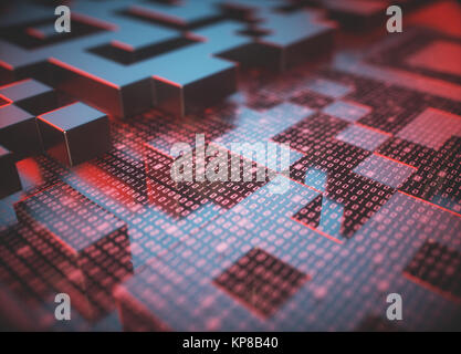 Quick response code (QR Code) in 3D dimension that reflects the red light reader. - Stock Photo