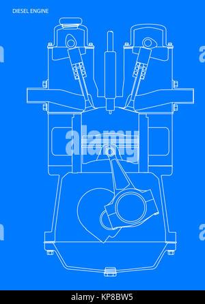 Diesel engine blueprint stock vector art illustration vector diesel engine blueprint stock photo malvernweather Image collections