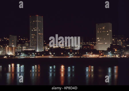 Downtown Core Area of Portland, after 7 P.M. on November 2 1973, During the State's Energy Crisis with Few Commercial - Stock Photo
