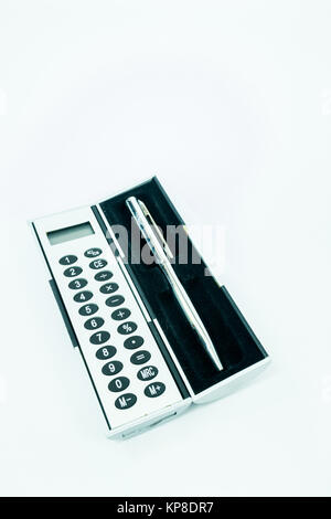 Pocket box of calculator and pen isolated on white background