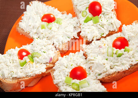 Sandwiches with cream cheese and celery,Sandwiches with cream cheese and celery,Sandwiches with cream cheese and - Stock Photo
