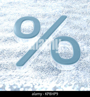 A percent symbol on a fresh snow that symbolizes winter promotions