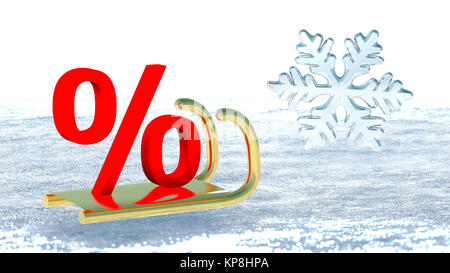 A percent symbol on Santa Claus sleigh that symbolizes winter promotions
