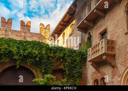 Romeo and Juliet balcony in Verona, Italy - Stock Photo