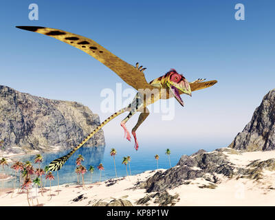 flying peacock peteinosaurus - Stock Photo