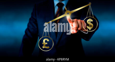 British Pound Sterling Outweighing The US Dollar - Stock Photo