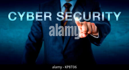 Manager Touching CYBER SECURITY Onscreen - Stock Photo