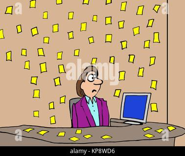 The woman's office and desk are filled with yellow sticky notes, she is very busy. - Stock Photo