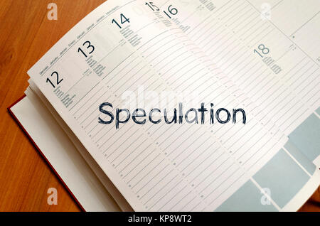 Speculation write on notebook - Stock Photo