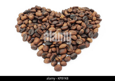 Heart shape coffee beans on white background - Stock Photo
