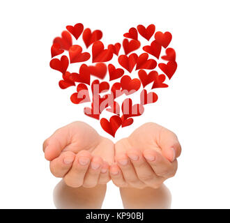Hearts in heart shape flying over cupped hands of young woman, Valentine's Day, happy Valentines day, love concept, - Stock Photo