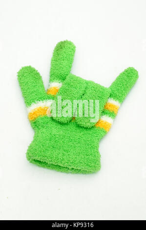 Knitted woolen gloves, winter gloves I love you symbol - Stock Photo