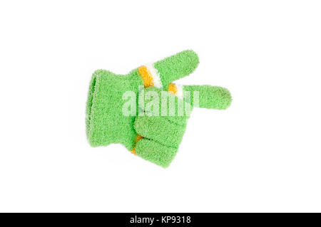 Knitted woolen gloves, winter gloves direction symbol isolated on white background - Stock Photo