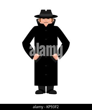 Spy in hat and coat isolated. Secret agent in cloak. Detective retro. Vector illustration. - Stock Photo