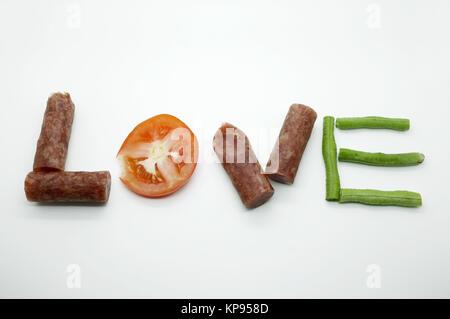Food message love - Stock Photo