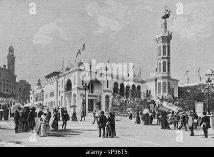 Algerian Pavilion at the Trocadero, Universal Exhibition 1900 in Paris, Picture from the French weekly newspaper - Stock Photo