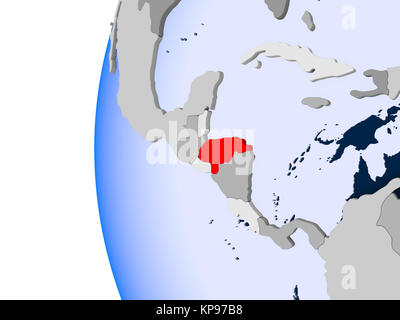 Honduras in red on political globe with transparent oceans. 3D illustration. - Stock Photo