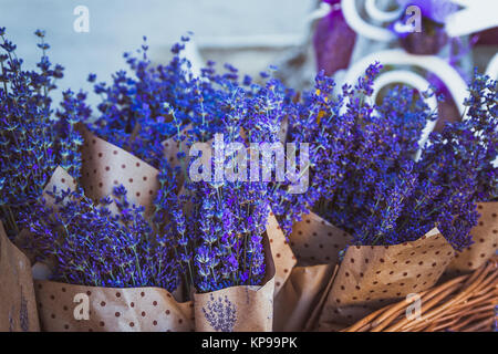 Dried bunches of lavender hanging on string. - Stock Photo