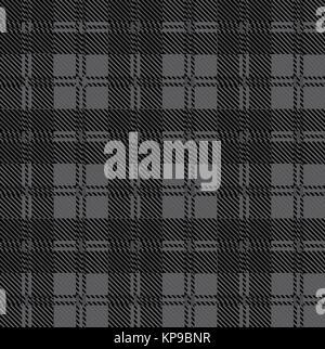 Grey Check Tartan Wool Material - Stock Photo