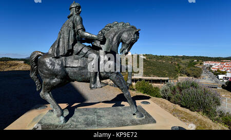 Equestrian statue of moorish king Ibn Qasi in Mértola - Stock Photo