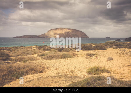 a view of playa de las conchas,a beautiful beach on la graciosa,a small island near lanzarote,canary islands,in - Stock Photo