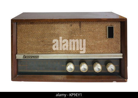 Retro blaster cassette tape recorder isolated on white background - Stock Photo