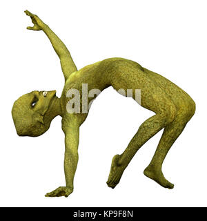 3D rendering of a green alien doing sport isolated on white background - Stock Photo
