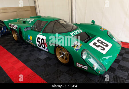 Three-quarter Front View of a Lola T-70 Mk3B onced owned and raced by Daviv Piper, at the 2017 Silverstone Classic - Stock Photo