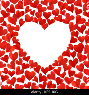 Background with red hearts in 3D, empty space for text in heart shape, isolated on white - Stock Photo