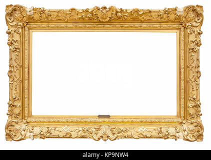 rectangle decorative golden picture frame - Stock Photo