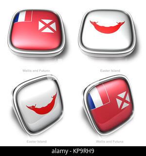3d Wallis Futuna and Easter Island flag button - Stock Photo