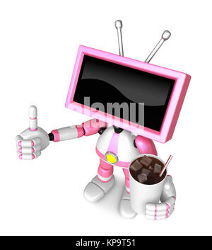 Pink TV Chef mascot the right hand guides and the left hand is holding a cola. Create 3D Television Robot Series. - Stock Photo