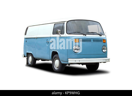 Green van camper side view isolated on white background - Stock Photo