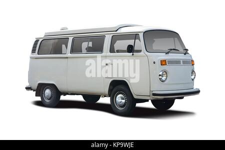 Retro mini van camper side view isolated on white - Stock Photo